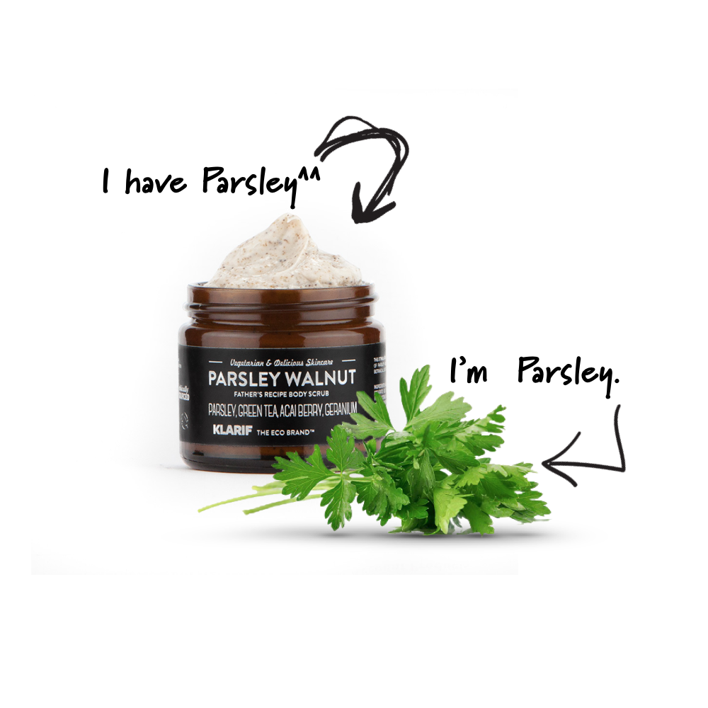 parsley walnut body face scrub